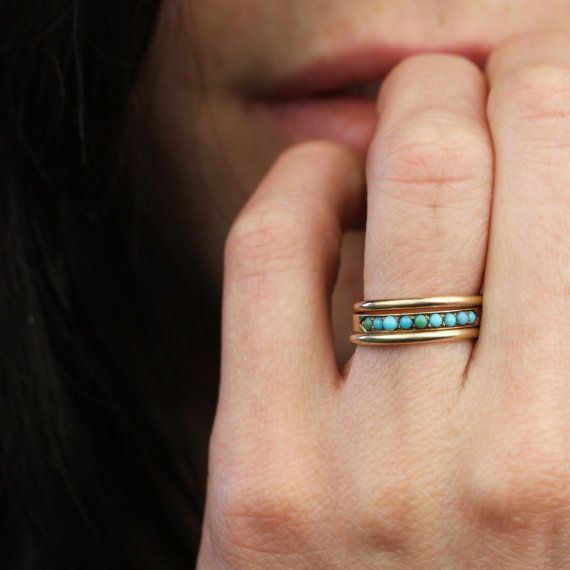 14k Gold Victorian Turquoise Half Infinity Band by ArtifactVintage
