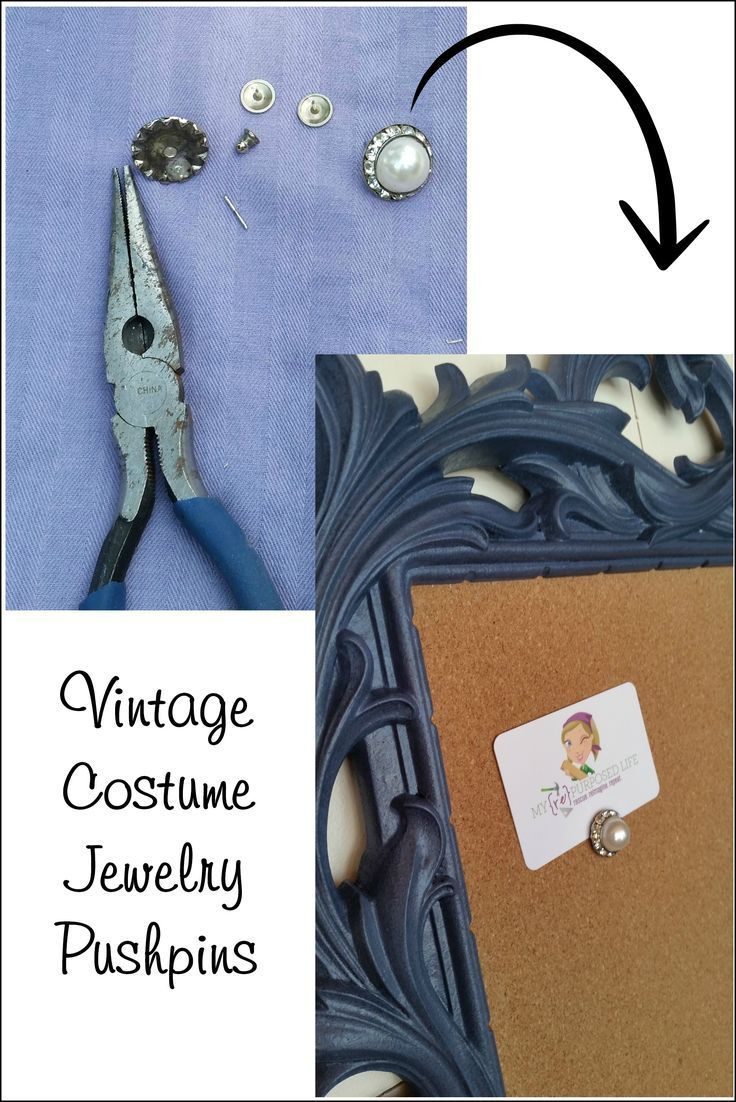 How to make vintage jewelry pushpins for your fancy memo cork board. Easy project to do with estate jewelry or granny's old earrings. Easy pushpin project.