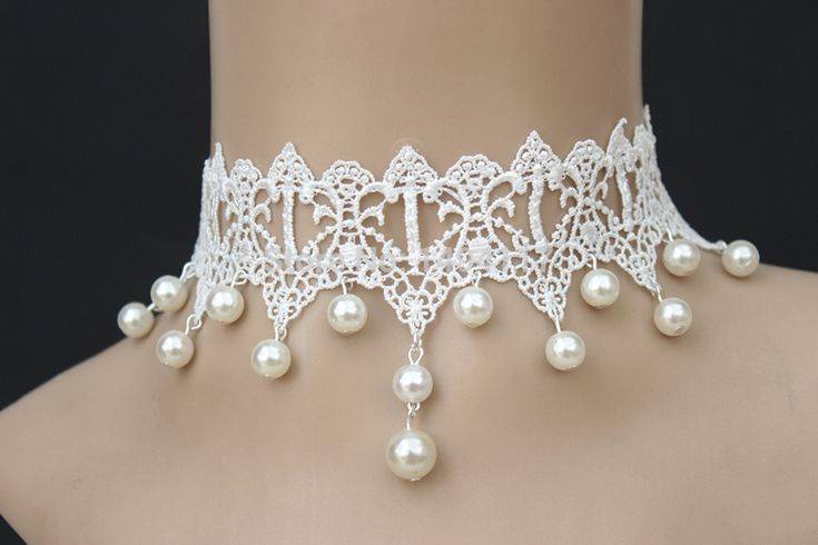 White lace pearl choker ~(can take off pearls)  5 DOLLARS   AliExpress