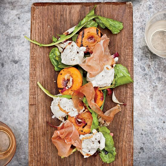 Grilled Apricots with Burrata, Country Ham and Arugula. Photo © Dave Lauridsen