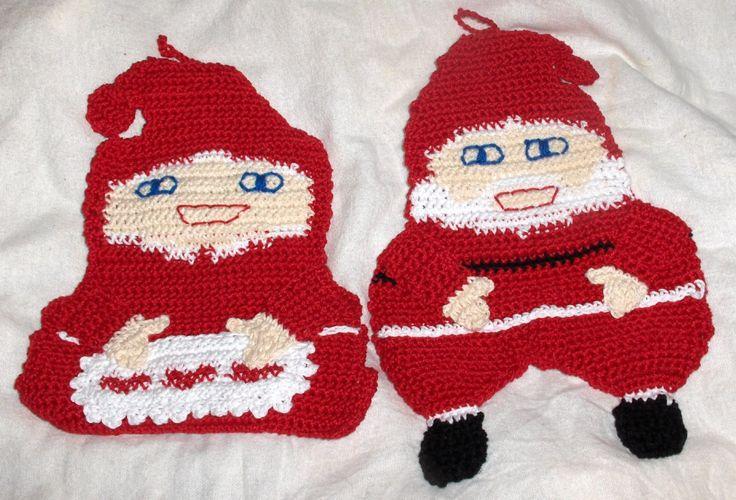 Christmas pot holders, crochet christmas potholders, santa potholders, mrs santa potholders, kithcen decor by Hildescrochetshop on Etsy