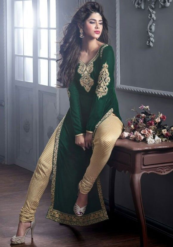 Beauteous Bottle Green Churidar Kameez Set - Salwar Kameez - Women