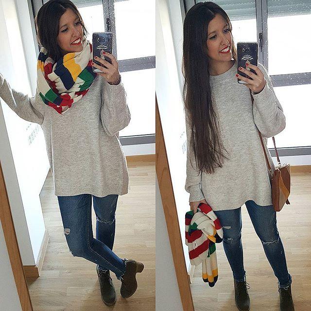 Y aquí el look completo rescatando estos botines que tienen años 😂 . 🍎Jersey (rebajas) y jeans (old) #zara 🍎Bufanda (rebajas) #pullandbear 🍎Botines #primark  Os recuerdo que siempre dejo mis looks etiquetados en @21.buttons 😉 _____________________________ #estilosinderroche #lookoftheday #outfitoftheday #outfit #blogger #bloggerspain #looktoday #blog #instablogger #outfitideas #madrid #outfitideas4you