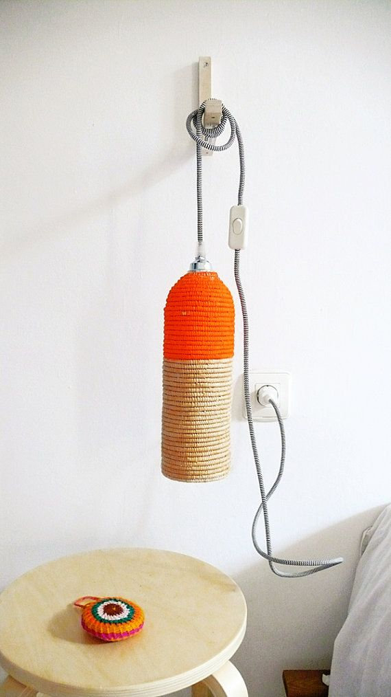 Natural raffia lamp with textile cable switch and от lacasadecoto