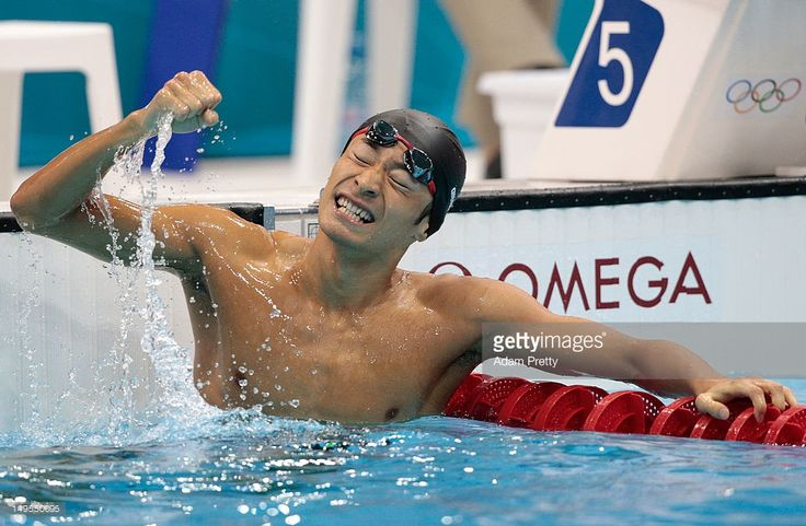 Ryosuke Irie of Japan celebrates after he placed third to win the bronze medal in the Final of the Men's 100m Backstroke on Day 3 of the London 2012 Olympic Games at the Aquatics Centre on July 30, 2012 in London, England.