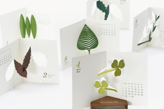 """""""Botanical Life"""" pop-up desk calendar - an elegant spin on children's pop-up picture books! A different design for each month, with a pop-out stand to display the current month. By Good Morning Inc."""