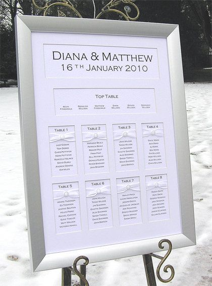 Elegant Wedding Invitations and Framed Wedding Table Seating Plans