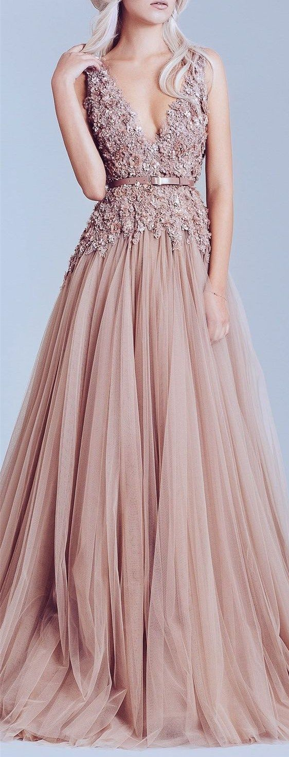2017 Custom Made Charming Pink Tulle Prom Dress, Appliques Prom Dress,Deep V-Neck Prom Dress, Beading Prom Dress