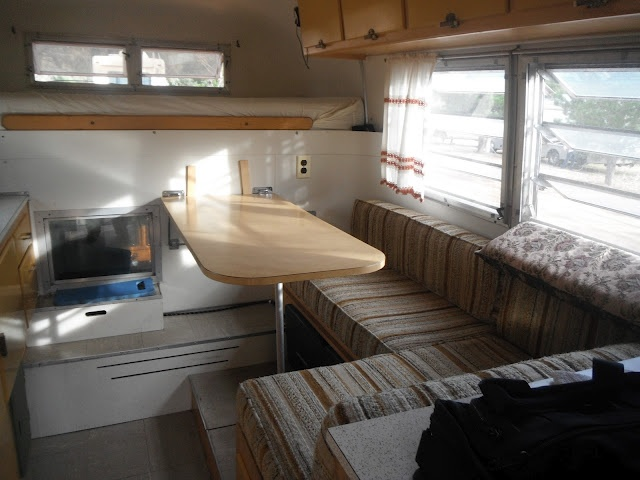 Interior of a 1965 Avion slide-in truck camper, taken from an owner's blog.  This looks like ours!!!