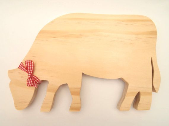 Handmade Decorative Wooden Grazing Cow by TwoandSixCreations