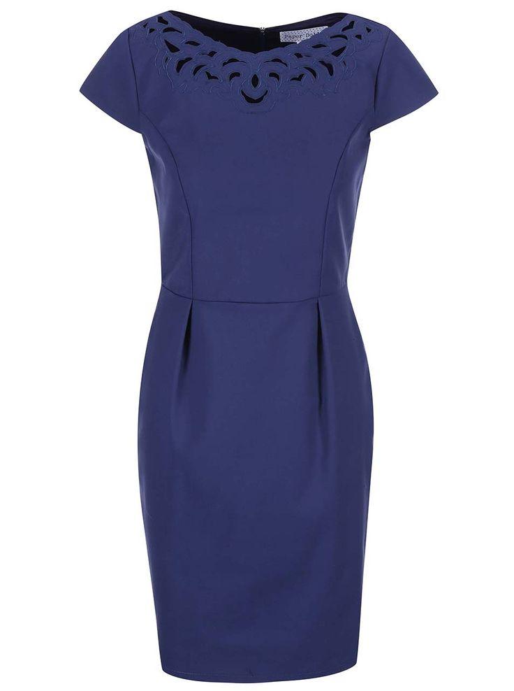 Modré šaty s lodičkovým výstrihom Paper Dolls
