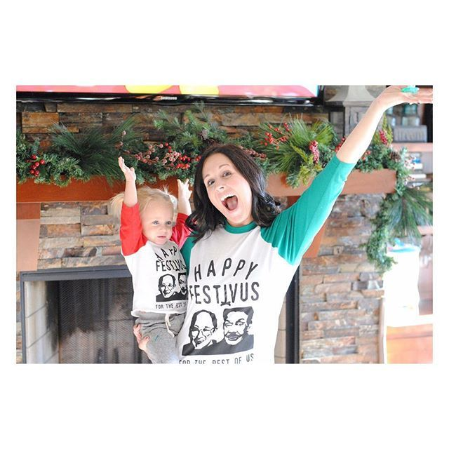 I'm kind of obsessed with this shot of one of my favorite mom/daughter duos! How can you not be ecstatic when rocking your #festivus shirt?! We are restocking adult sizes this week but have super limited toddler sizes left and we likely won't be able to restock before the holidays. Scoop them up while you can! ❤️ #wireandhoney #happyfestivusfortherestofus #happyfestivus #christmastee #holidaytee