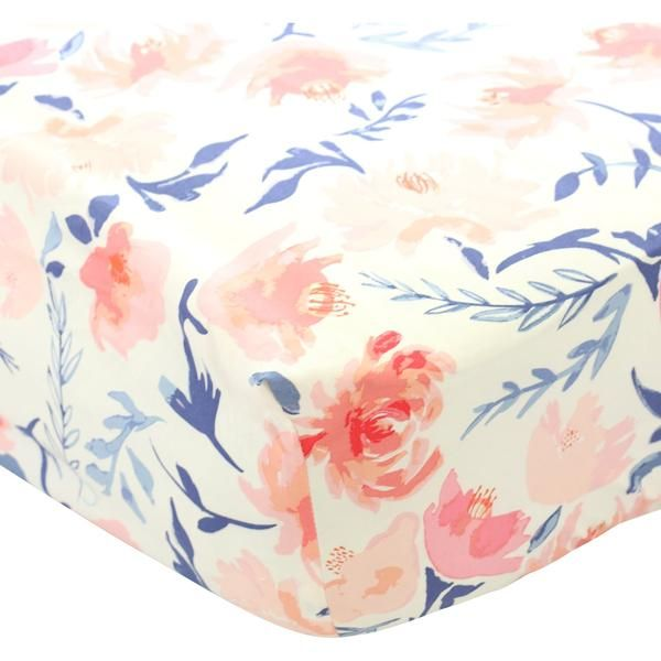 Willow's Blush & Navy Floral crib sheet will sweeten up any baby girl's crib.