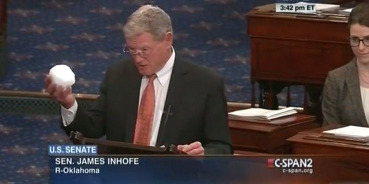 WASHINGTON -- The Senate's most vocal critic of the scientific consensus on climate change, Jim Inhofe of Oklahoma, tossed a snowball on the Senate floor Thursday as part of his case for why global warming is a hoax. (This is what happens when you take science out of your school books! Who will clean up your mess Mr. Senator after the snow ball melts?)
