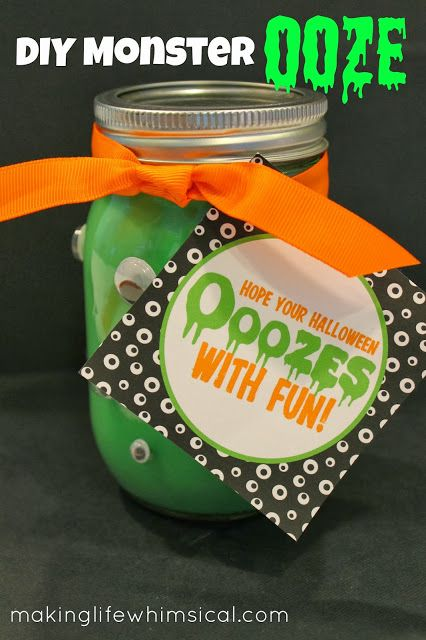 Monster Ooze! Make your own with easy tutorial.  Add the tag and you have the perfect gift for any young child!  www.makinglifewhimsical.com #halloween #makinglifewhimsical