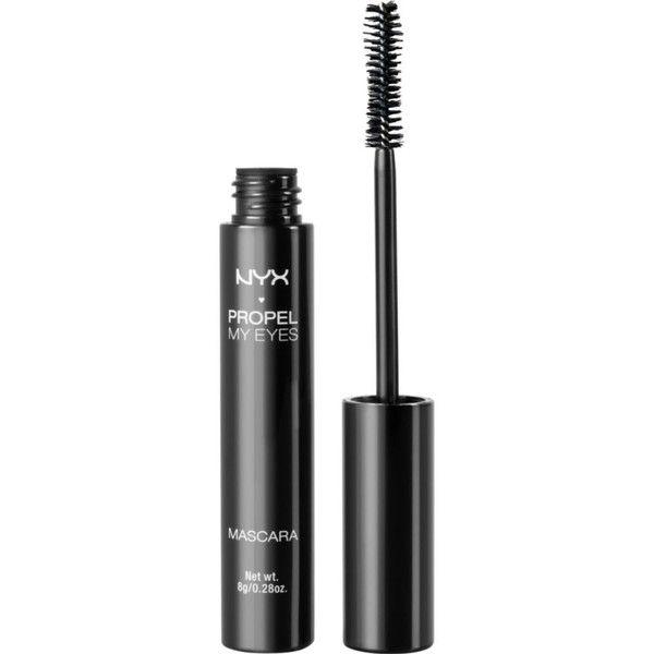 NYX COSMETICS Propel My Eyes Mascara ($13) ❤ liked on Polyvore featuring beauty products, makeup, eye makeup, mascara, jet black, conditioning mascara, nyx and nyx mascara