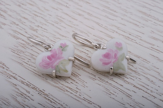 Heart Shaped China Painting Silver Drop Earrings.