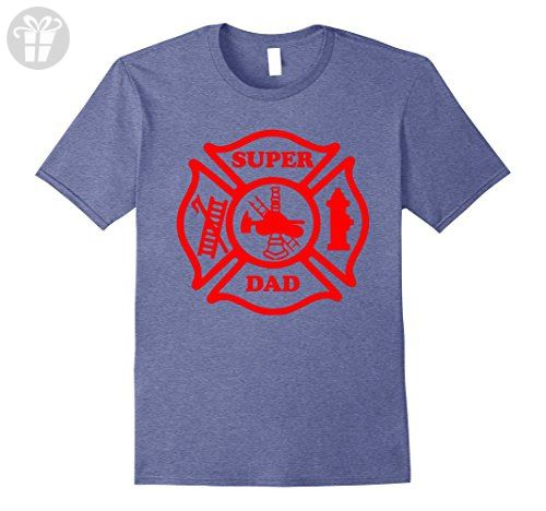 Mens Super Dad Fireman Fire Fighter Father's Day Gift Funny Shirt 3XL Heather Blue - Funny shirts (*Amazon Partner-Link)