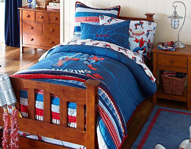 I want to get this for my 4 1 2 year olds bed room love it for Boys spiderman bedroom ideas