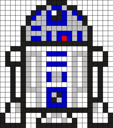 R2D2 Star Wars Perler Bead Pattern                                                                                                                                                      More