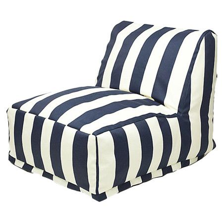 Indoor/outdoor lounger in navy with a stripes motif and eco-friendly fill. Made in the USA.     Product: LoungerConstruct...
