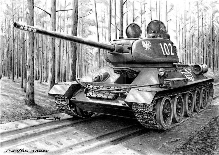 T-34/85 'RUDY' by krzysiek-jac on deviantART