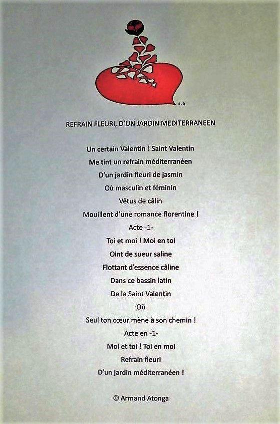 """Saint Valentin, """"Refrain fleuri d'un jardin méditerranéen"""", poème issu de mon roman Coeur d'OAsis... http://www.amazon.com/dp/B00EGAFV9K/"""