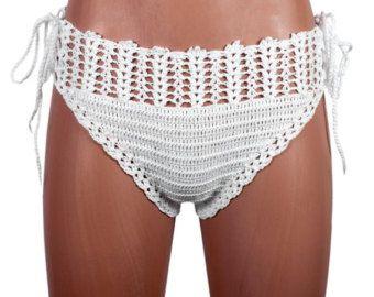 Crochet Beige bikini bottom women bikini bottom by LoveKnittings
