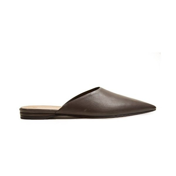 The Row Giacomo point-toe leather backless loafers (€670) ❤ liked on Polyvore featuring shoes, loafers, pointed toe loafers, loafers moccasins, pointed toe shoes, leather footwear and backless shoes