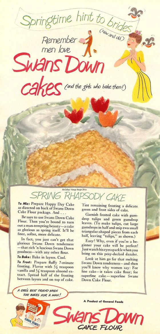 Swans Down Recipe Ad for Spring Rhapsody Cake  (Vintage Ad )