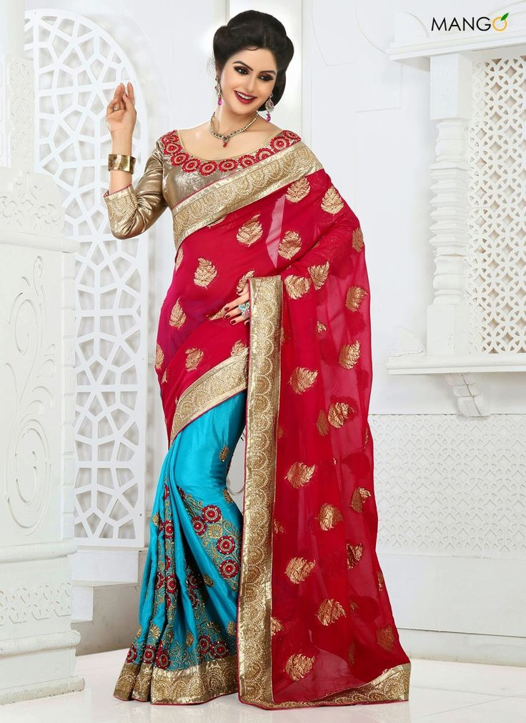 EYEFUL RED AND CYAN VISCOSE TRADITIONAL SAREE  CODE:-7296 PRICE:-4878/-