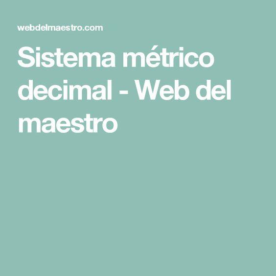 Sistema métrico decimal - Web del maestro