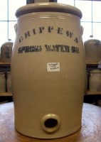eautiful antique Salt Glaze Water Cooler with bung, advertising for Chippewa Spring Water from Chippewa Falls, Wisconsin.    CONDITION: Excellent condition with no damage or repairs.    PRICE: $1850.00