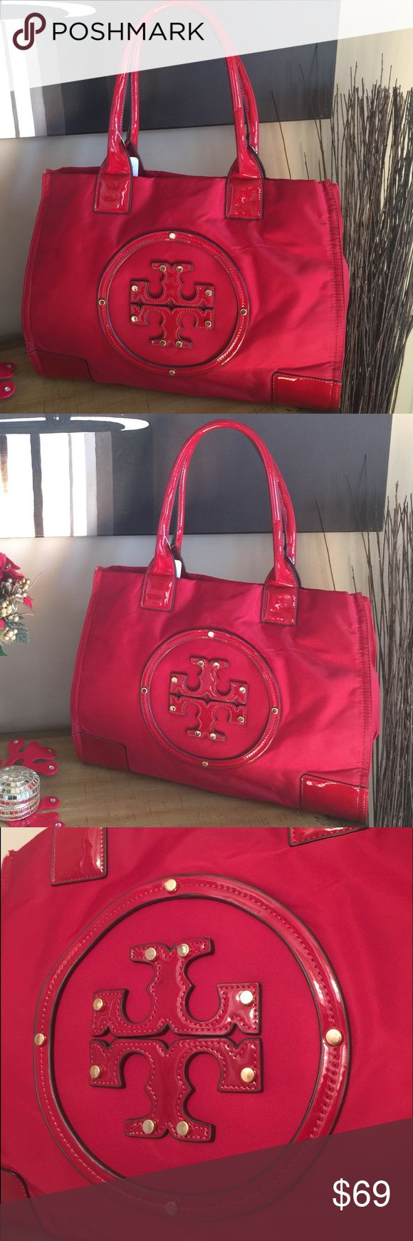 BNWT RED HANDBAG W LOGO-PRICE IS FINAL!NO OFFERS🔕 BRAND NEW GREAT QUALITY NO BRAND BUT VERY SIMILAR TO BRAND NAME - ELLA STYLE. HIGH QUALITY NYLON AND LEATHER. Lots of space. THIS BAG IS BEAUTIFUL AND IS MADE WITH EXCELLENT MATERIALS - I am NOT going to take offers on it. THE PRICE IS FINAL!!!! Please don't send more offers. THANK YOU 😊 TB Bags Shoulder Bags