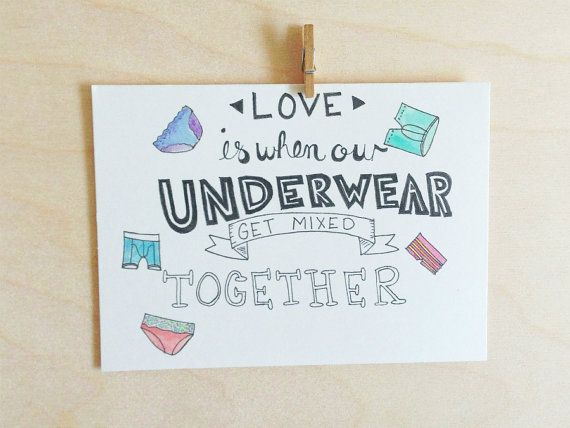 """Naughty Anniversary Card. Funny Anniversary. Funny Valentines Day Card.  """"Love is when our underwear get mixed together."""" on Etsy, $4.50"""
