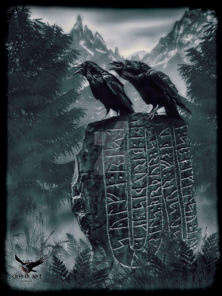 Huginn and Muninn on a runestone by thecasperart on DeviantArt