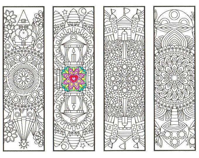 Colorare i segnalibri - Fantasy Forest mandala pagina 2 - disegni da colorare per adulti, i ragazzi più grandi e divoratori di libri - Guarisci presto regalo