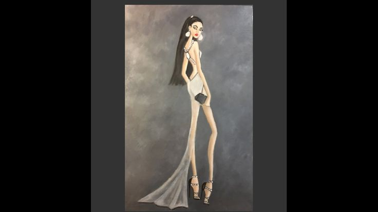 Fashion Illustration painting with oil