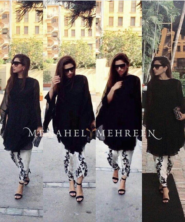 Pakistani actor Mahira Khan in a shalwar kameez by Menahel & Mehreen.