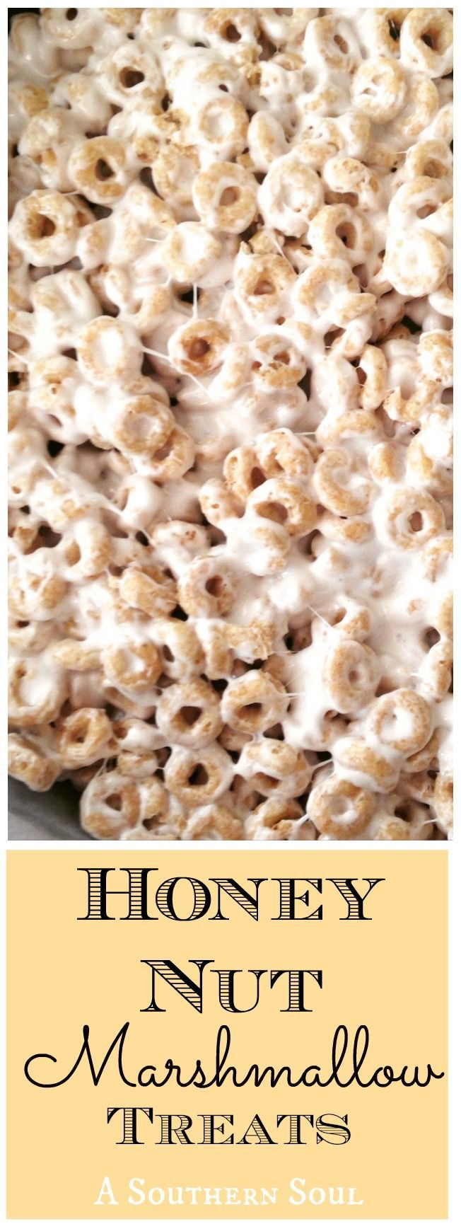 Honey Nut cereal with sweet marshmallow make a yummy treat everyone will love!