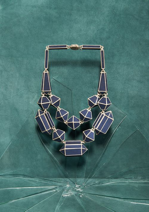Noon Passama Necklace: Untitled (Ethnic jewellery silhouette) 2010 Colour coated metal and leather