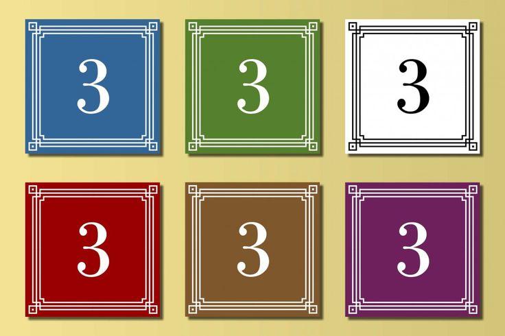 Klasszikus négyzet alakú házszámtábla, Klasszikus négyzet alakú házszámtábla., Falra-való