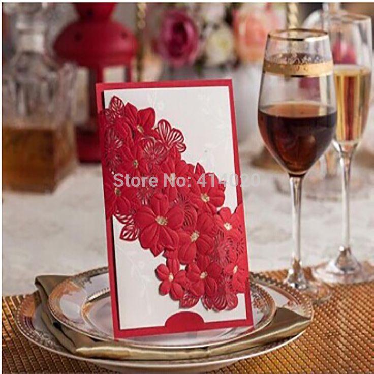 FedEx DHL UPS EMS Бесплатная Доставка 100 Шт./лот Индивидуальные Exquised Красный Цветок Декор Элегантность Свадебные Приглашения Карты