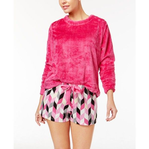 Hue Fleece Top and Printed Boxer Pajama Shorts Set ($27) ❤ liked on Polyvore featuring intimates, sleepwear, pajamas, fleece pajama set, fleece sleepwear, fuzzy pajamas, hue sleepwear and hue pajamas
