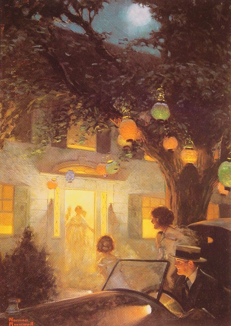 Norman Rockwell (1894-1978)  And the Symbol of Welcome is Light. My Mother used to turn on every light in the house when company was coming!: Lights, Rockwell 1894 1978, 1920, Symbols, Norman Rockwell, Illustration, Rockwell Painting, Artist