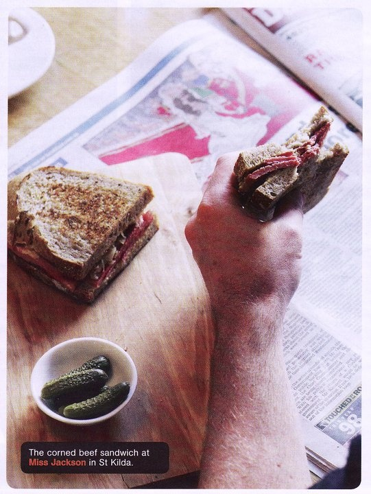 Corned beef sandwich with caramelised cabbage and mustard and cornichons ~ in The Melbourne Magazine