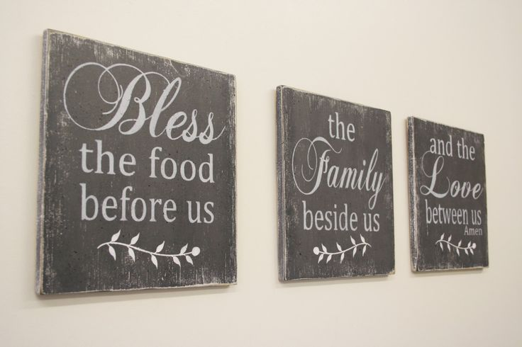 Bless The Food Before Us Wood Wall Hanging Dining Room Decor