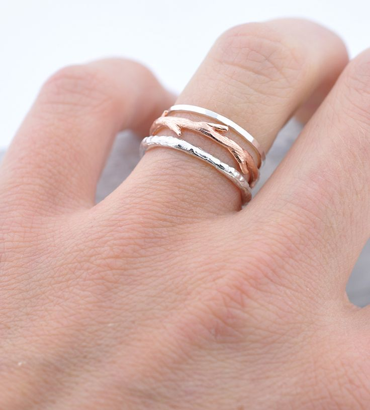 Silver Bands & Rose Gold Twig Ring Set by Colby June