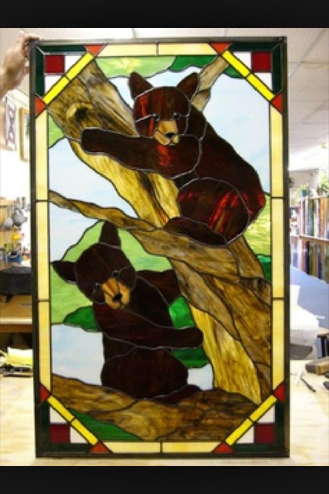 Two Playful Bear Cubs Stained Glass Cabin Wish List