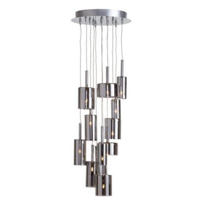Litecraft Artisan 12 Light Flush Ceiling Pendant - Smoked Glass- at Debenhams.com